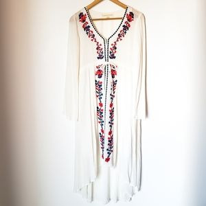 Lovestitch | Embroidered Boho Tie Front Dress